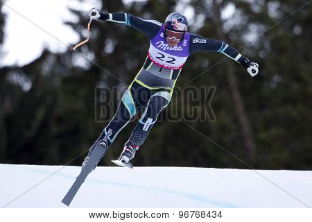 GARMISCH PARTENKIRCHEN, GERMANY. Feb 10 2011: Aksel-Lund Svindal (NOR) takes to the air competing in the men's downhill training at the 2011 Alpine Skiing World Championships