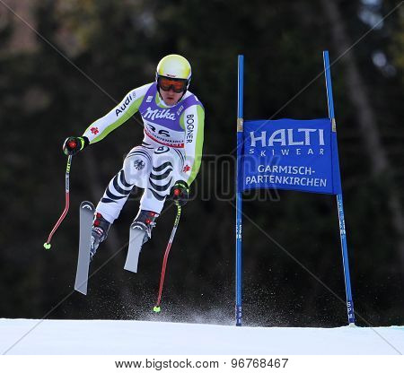 GARMISCH PARTENKIRCHEN, GERMANY. Feb 10 2011: Tobias Stechert (GER) takes to the air competing in the men's downhill training at the 2011 Alpine Skiing World Championships