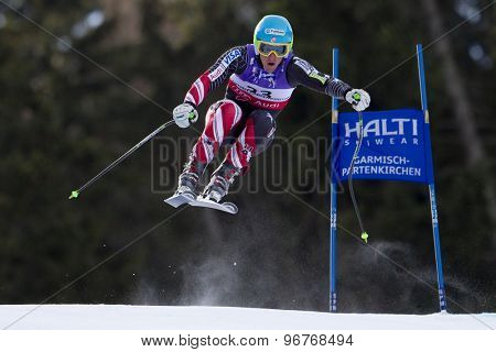 GARMISCH PARTENKIRCHEN, GERMANY. Feb 10 2011: Ted Ligety (USA) takes to the air competing in the men's downhill training at the 2011 Alpine Skiing World Championships