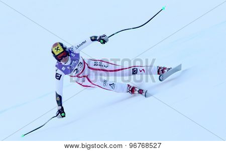 GARMISCH PARTENKIRCHEN, GERMANY. Feb 08 2011: Nicole Hosp (AUT) whilst competing in the women's super giant slalom race at the 2011 Alpine skiing World Championships