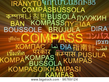 Background concept wordcloud multilanguage international many language illustration of compass glowing light