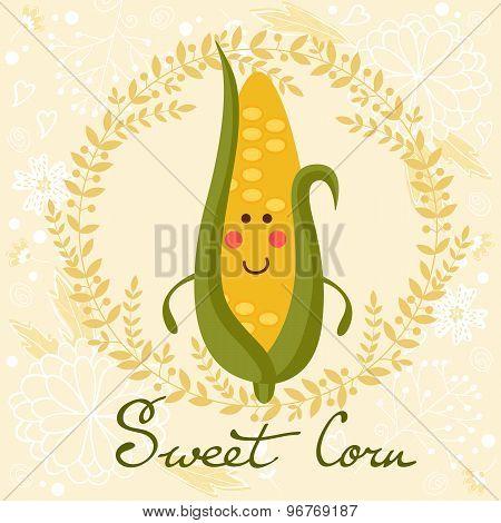 Cute sweet corn character illustration