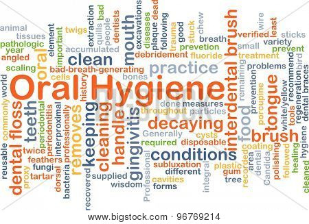 Background concept wordcloud illustration of oral hygiene