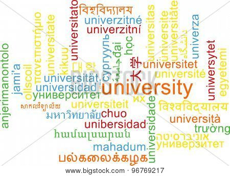 Background concept wordcloud multilanguage international many language illustration of university