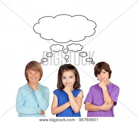 Three pensive children isolated on a white background