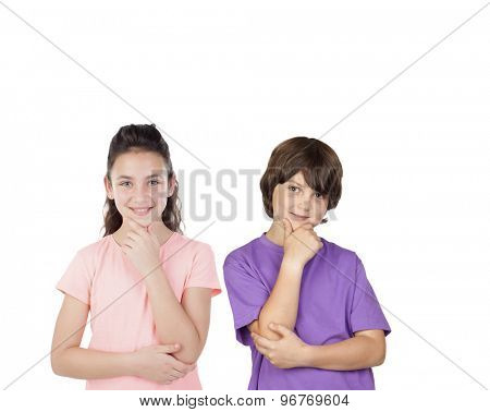 Couple of pensive children isolated on a white background