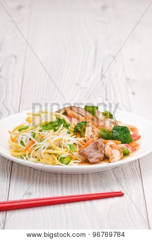 Noodles With Chicken Beef And Crab Stick