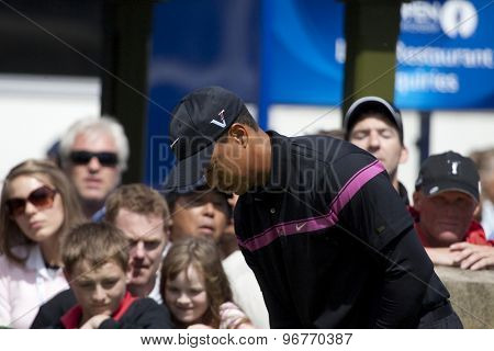 ST ANDREWS, SCOTLAND. July 17 2010: Tiger WOODS from the USA in action during the third round of The Open Championship   played on The Royal and Ancient Old Course