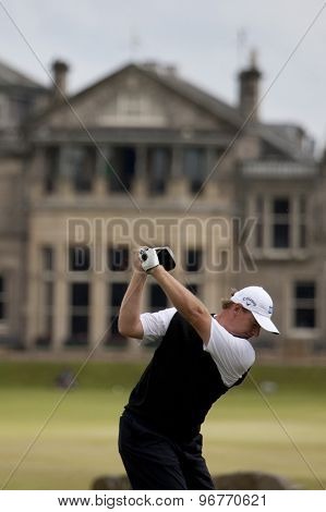 ST ANDREWS, SCOTLAND. July 15 2010: Ernie ELS from South Africa in action on the first day of The Open Championship   played on The Royal and Ancient Old Course