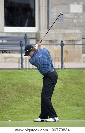 ST ANDREWS, SCOTLAND. July 15 2010: Retief GOOSEN from South Africa in action on the first day of The Open Championship   played on The Royal and Ancient Old Course