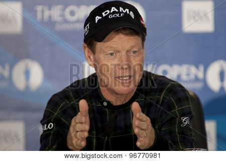 ST ANDREWS, SCOTLAND. July 14 2010: Tom WATSON from the USA during his press conference on a preview day for The Open Championship   played on The Royal and Ancient Old Course
