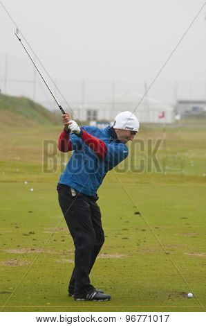 ST ANDREWS, SCOTLAND. July 14 2010: Edoardo MOLINARI from Italy in action on a preview day for The Open Championship   played on The Royal and Ancient Old Course