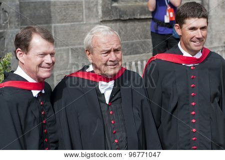 ST ANDREWS, SCOTLAND. July 13 2010: Tom Watson (L) Arnold Palmer (C) and Padraig Harrington get the honorary awards from the St Andrews University