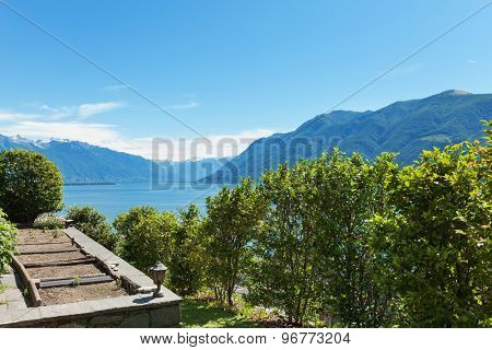 panoramic view from a garden of a residential house