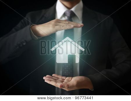 male touching virtual icon of social network