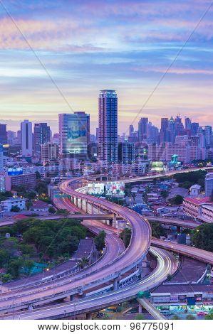 Bangkok cityscape highway intersection