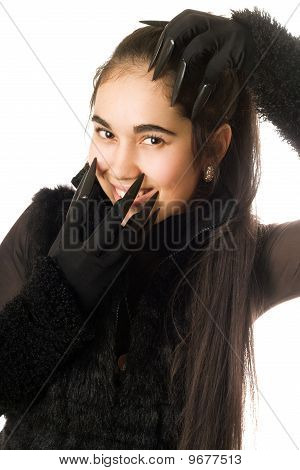 Portrait Of Joyful Young Woman In Gloves