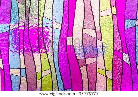 Multicolored Stained Glass Church Window Portrait Orientation