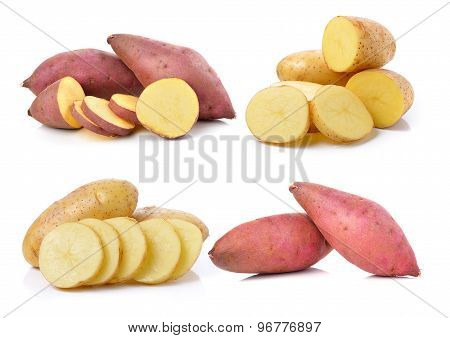 Yam And Potato On White Background