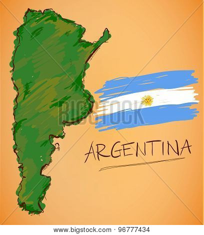 Argentina Map And National Flag Vector
