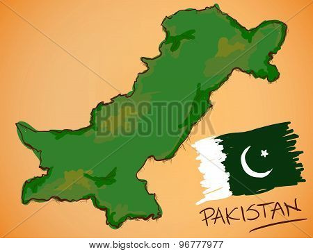 Pakistan Map And National Flag Vector