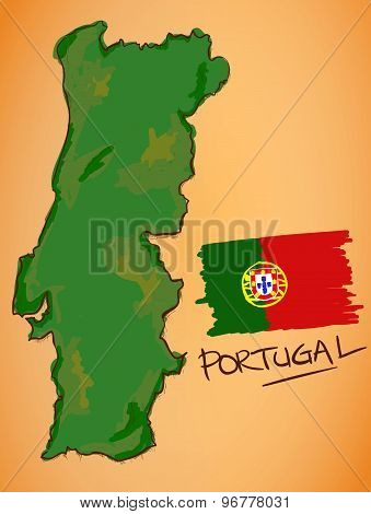 Portugal Map And National Flag Vector