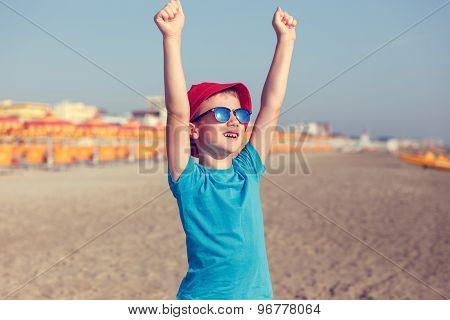 Little Boy Enjoying Summer Holiday Vintage