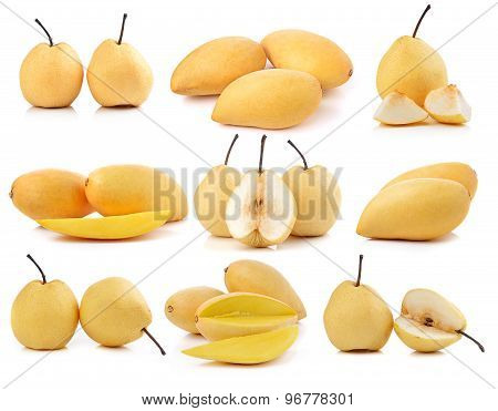 Pear And Mango On White Background