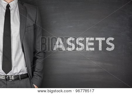 Assets text on blackboard