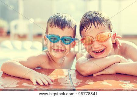 Boys Laughing In Pool