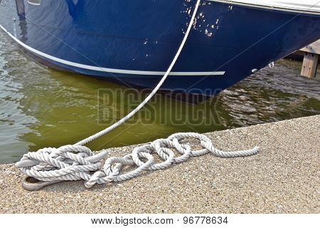 nautical rope securing a boat
