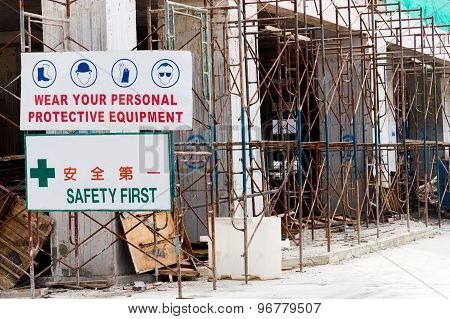 Safety Signage with at construction site for safety
