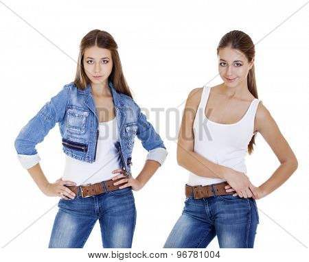 Collage, young girls in  blue jeans, isolated on white
