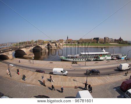 Top View Of The Bridge Across The Elbe