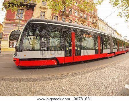 Prague, Czech Republic - April 25, 2015: New Tram On The Streets Of Prague