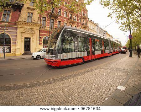 Prague, Czech Republic - April 25, 2015: New Tram On The Street Of Prague