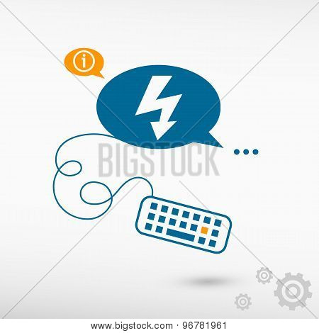 Lightning Icon And Keyboard On Chat Speech Bubbles