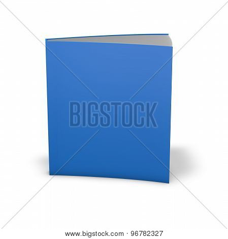 Book With Empty Blue Cover. Standing In Vertical Position. Template Illustration With Emty Space.