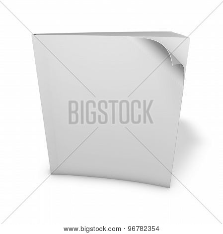 Empty Book Template Standing With Shadow. Isolated On White, Copy Space For Your Illustration.