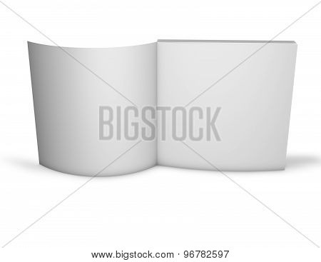 Open Standing Publication Blank Template With Empty Pages. Isolated On White.