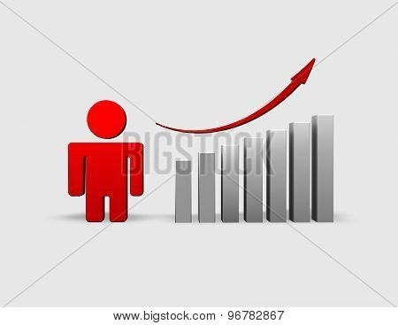 Business Presentation 3D Illustration With Graph And Arrow Up