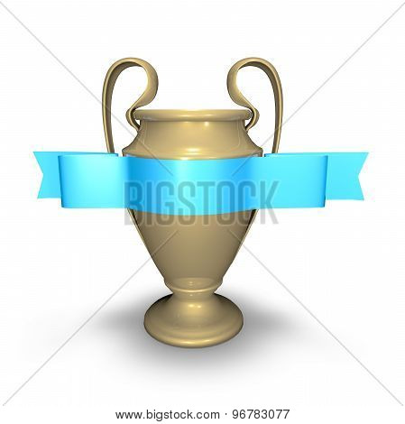 Trophy Number One Cup With A Blue Ribbon