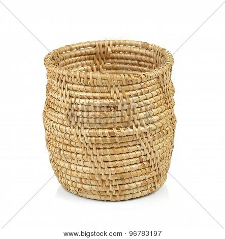 Wood Basket Pot On Isolated Background
