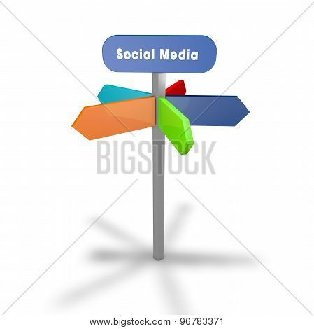 Social Media Concept With Road Sign And Colorful Arrows