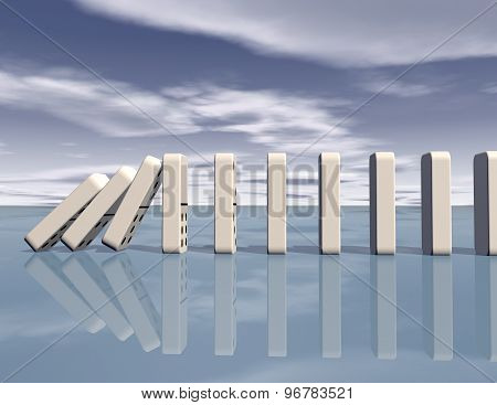 Dominoes Falling With Blue Sky Blue Background