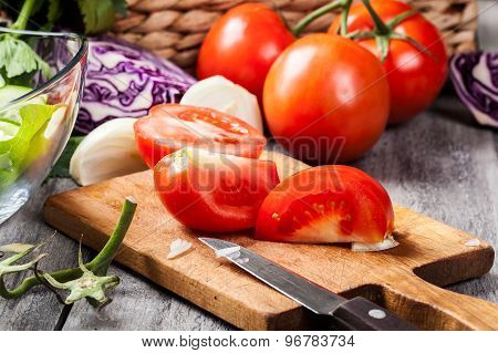 Chopped Vegetables: Tomatoes On Cutting Board