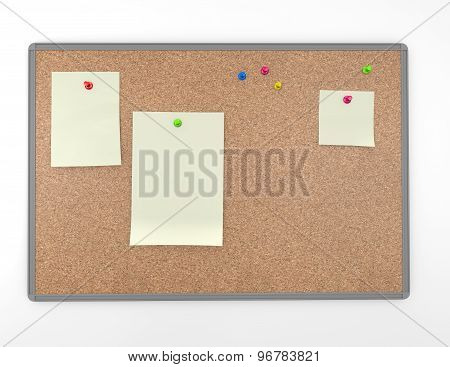 Cork Board Background With Announcements And Empty Space