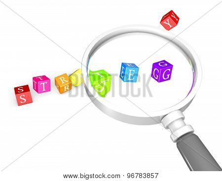 Strategies Concept With Magnifying Glass And Game Dices