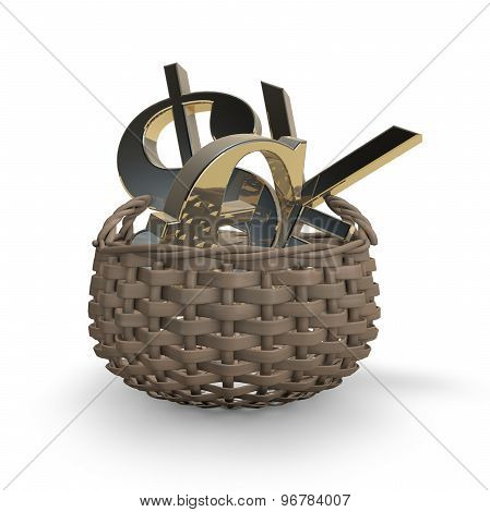 Forex Concept With Money Symbols In Basket