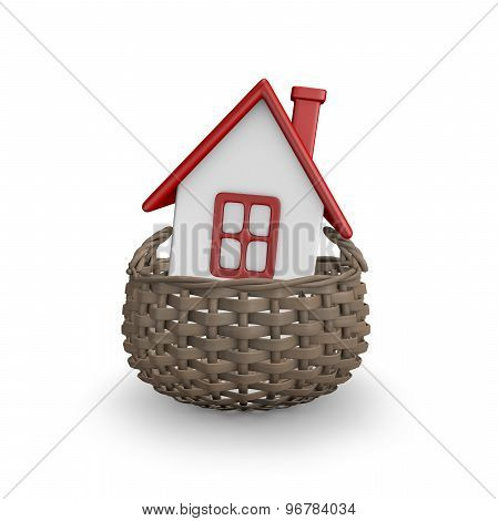 Buying A House Concept With House And Basket Illustration
